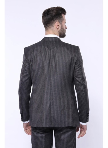 Wessi Erkek Çizgili Slim Fit Yelekli Takım Elbise Siyah